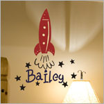 Z: Alphabet Garden Designs Wall Vinyl Bailey's Rocket Monogram