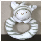 Angel Dear Grey Zebra Ring Rattle