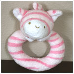 Angel Dear Pink Zebra Ring Rattle