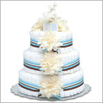 ~ Bloomers *Cream Dahlias w/ Blue Stripes* Baby Diaper Cake