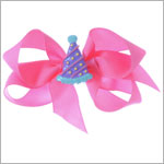 II: Bow Arts *Birthday* Hot Pink Party Hat Bow