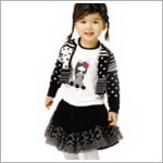 Catimini Black Skirt w/ Netting & White Embroidered Design