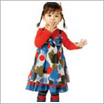 Catimini Red L/S Dress w/ Multi Color Hearts Spades & Clubs