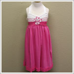 Isobella & Chloe Hot Pink/White Knit Halter Ruffle Dress with Flowers