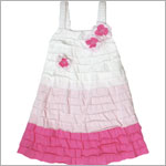 Isobella & Chloe  Isobella & Chloe White/Hot Pink Strappy Color Block Tiered Cherry Blossom Dress