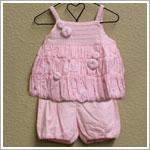 Isobella & Chloe Pink Voile 2pc Ruffle Bubble Top and Bloomer Set