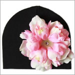 Z: Black with Pink Peony Beanie Hat