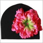 Z: Black with Raspberry Peony Beanie Hat