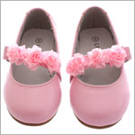 L'Amour PATENT PINK Mary Jane Shoes w/ Ribbon Flowers