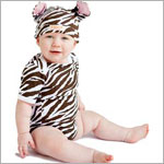 Noo Wear Brown Zebra 2pc Bodysuit & Hat Set
