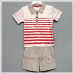 Petit Lem 2pc White/Grey with Red Stripes Shirt and Grey Short Set