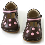 II: Rainbow Steps Brown Leather Velcro Shoes w/ Pink Dots *SQUEAKS*