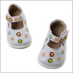 II: Rainbow Steps White Multi Flower Mary Janes *Euro* *SQUEAKS*