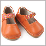 II: Rainbow Steps ORANGE Leather Shoe *SQUEAK*
