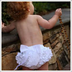 Ruffle Butts White Woven Ruffle Diaper Cover w/ White Bow
