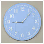 Z: 14 Inch Blue Wooden Wall Clock *I love you to the moon and back*