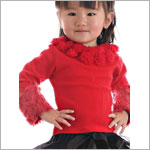II: Ally Girl Fur Cuff Shirt *RED*
