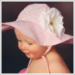 Ally Girl Light Pink Eyelet Sun Hat *With Rose*