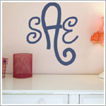 Z: Alphabet Garden Designs Wall Vinyl Curly Cue Monogram