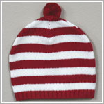 Angel Dear Red/White Knit Holiday Striped Beanie Hat