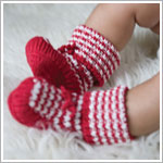 Angel Dear Red/White Knit Holiday Heirloom Booties in a Box