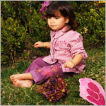 S (6yr) Baby Nay *Roses are Red* Purple Plaid L/S Blouse