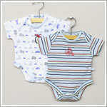 Baby Nay *Da Lil Guys* Vintage Bicycle 2 PACK S/S Print & Striped Bodysuits