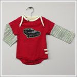 Baby Nay *Da Lil Guys* Red L/S Two-Fer Bodysuit