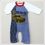 Baby Nay *Da Lil Guys* L/S Blue/White Hot Rod Raglan Romper