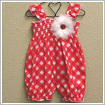 Baby Nay *Yumi Flowers* Gingham Smocked Romper