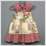 Baby Nay *Sweet Geese* Strappy Cross Back Shirred Dress w/ Red Gingham
