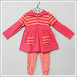Baby Togs Coral/Salmon L/S Striped Hooded Tunic Top & Dotted Gathered Legging Set