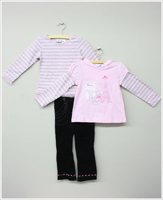 Baby Togs 3pc Paris Set W 2 Pink Shirts Black Pink Cord Pants