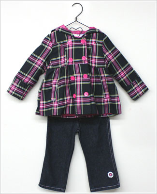 Baby Togs 3pc Black Pink Plaid Pea Coat Pink L S Swing Top W Embroidered Jeans Set