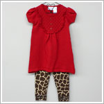 Baby Togs Red S/S Eyelet Sweater Tunic Top & Ruffle Giraffe Legging Set