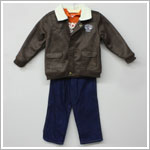 Baby Togs 3pc Rescue Set w/ Orange Hooded Shirt - Jeans - and Suede Style Jacket