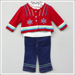 Baby Togs 3pc Cream Turtleneck & Jean Set w/ Red Snowflake Cardigan