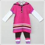 Baby Togs Pink L/S Hooded Sweater Dress & Brown Leggings w/ Stripes Set