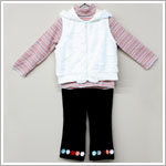 Baby Togs 3pc Coral Striped Turtlenck & Black Cord Pant w/ White Hooded Fur Vest Set