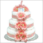 ~ Bloomers *Pink Daisies w/ Paisley* Baby Diaper Cake