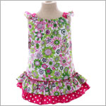 Beary Basics *London Calling* Pink/Green Ruffle Sundress w/ Fuchsia Dotted Trim
