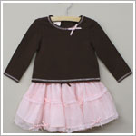 Baby Biscotti Brown L/S Shirt & Pink Netting Skirt Set