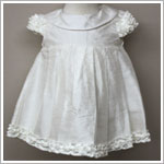 Baby Biscotti Ivory S/S Ruffle Silk Dress