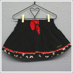 Catimini Black Corduroy Bubble Skirt Trimmed w/ Butterflies