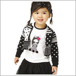 Catimini Black/White Striped & Dotted Cardigan