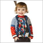 Catimini Blue/Grey/Red Striped & Dotted Ruffle Cardigan