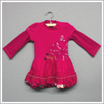Catimini Fuchsia Embroidered Floral Two-Fer Sleeve Bubble Dress