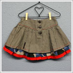Catimini Brown Houndstooth & Floral Pleated Button Front Skirt *Ajustable Waist!*