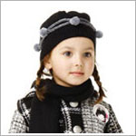 Catimini Black Lined Beanie Hat w/ Grey Sparkle Puffs