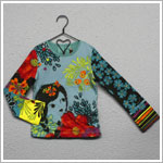 Catimini Teal/Multi-Color L/S Floral Shirt